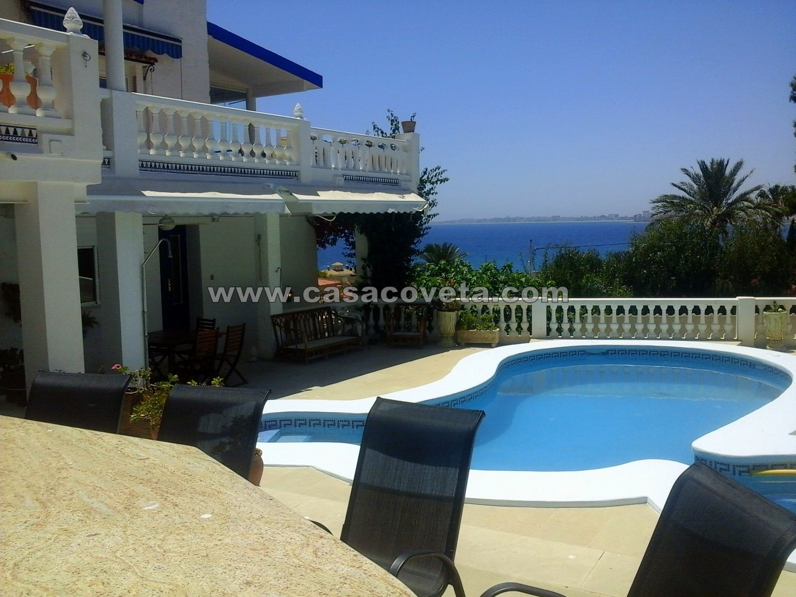 7 bedroom villa, with private pool, games room with lovely sea views situated in the heart of Coveta. This wonderful villa is a perfect family retreat!. Ref: 553